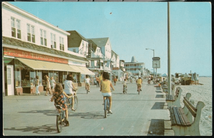 people riding bikes on the boardwalk in the 1970's