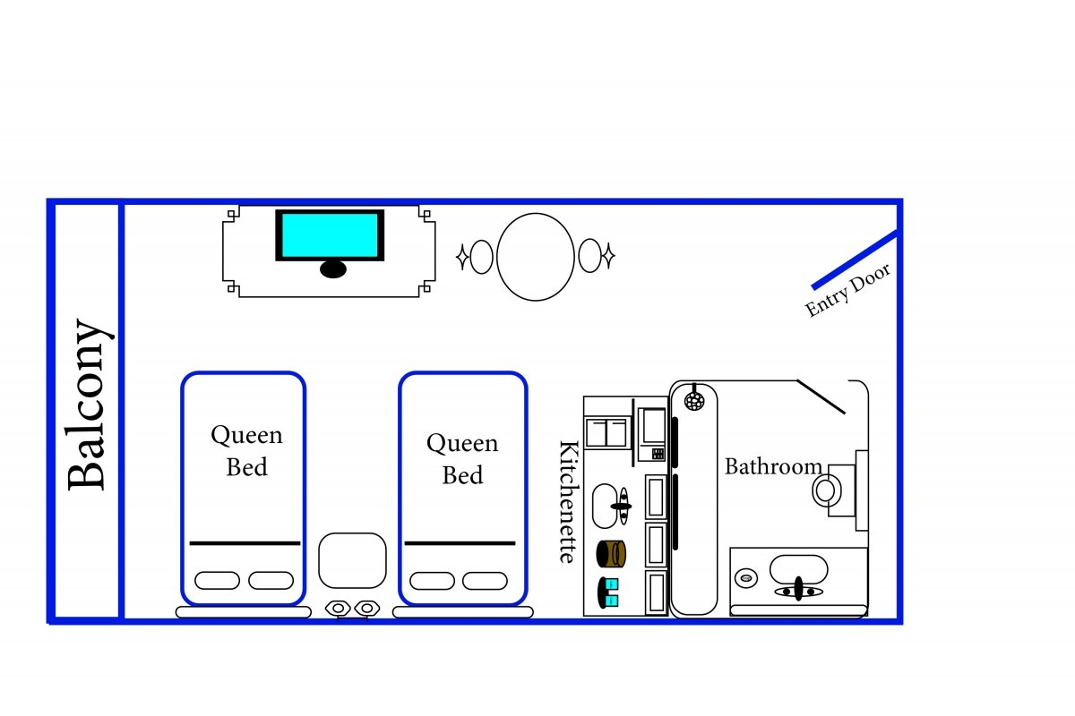 diagram of balcony, 2 queen beds, flat screen TV, kitchenette, bathroom, and entry door