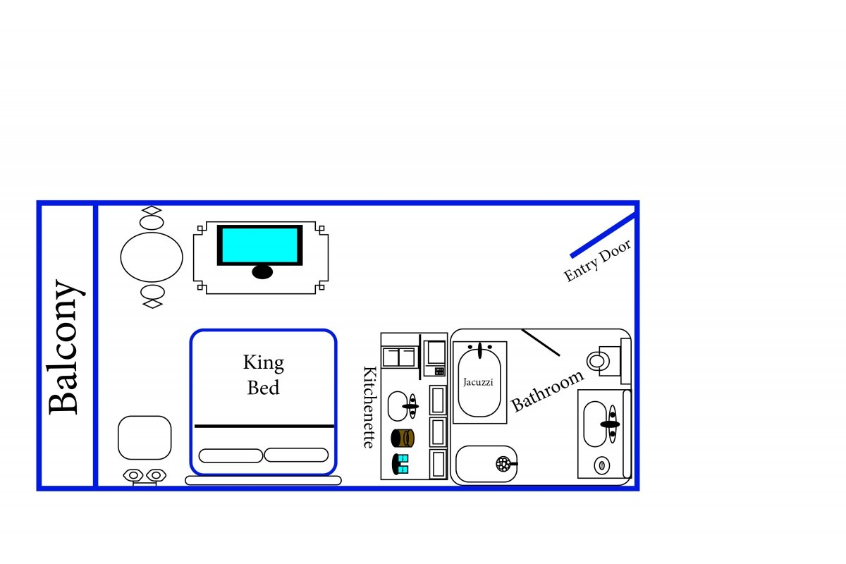 diagram of balcony, 1 king bed, flat screen TV, kitchenette, balcony, bathroom with Jacuzzi, and entry door
